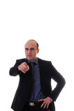 Junger Geschäftsmann zeigt seinen Finger Lizenzfreie Stockfotografie