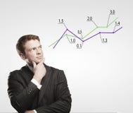 Junger Geschäftsmannblick auf ein Diagramm. lizenzfreies stockfoto