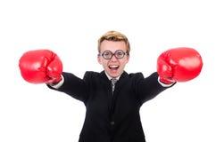 Junger Geschäftsmannboxer Stockbild