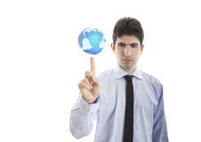 Junger Geschäftsmanngriff eine Welt Lizenzfreie Stockfotografie