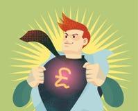 Junger Geschäftsmann, der sein Hemd mit britischem Pfundzeichen auseinander reißt Stockfoto