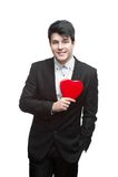 Junger glücklicher Geschäftsmann auf Valentinstag Lizenzfreie Stockfotografie