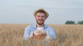 Junger glücklicher Getreidebauer, gut aussehender Mann im Strohhut gibt Sie am geschmackvollen gebackenen Brot und am Lächeln der stock footage