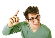 Junger glücklicher Mann mit guter Idee Lizenzfreie Stockbilder