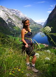 Junger glücklicher Wanderer Lizenzfreies Stockbild