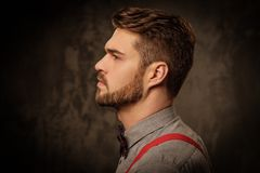 Junger gutaussehender Mann mit tragenden Hosenträgern des Bartes und Aufstellung auf dunklem Hintergrund Stockbild