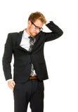 Junger, hübscher Geschäftsmann, der schwarzen Anzug trägt Lizenzfreie Stockbilder