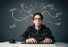 Junger Hacker mit weißer gezeichneter Linie Gedanken Lizenzfreies Stockfoto