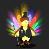 Junger Hahn in einem schwarzen Frack und in einem Hut der Zylinder mit Stock Symbol Weihnachtshahn-Hühnergroßes intelligentes End Lizenzfreie Stockfotografie