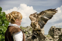 Junger hübscher Falkner mit seinem Falken, benutzt für Falknerei, Stockfoto