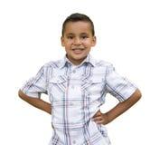 Junger hispanischer Junge auf Weiß Lizenzfreie Stockfotografie