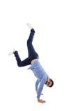 Junger hispanischer Mann mit blauem Hemd und Gläsern lizenzfreie stockfotos