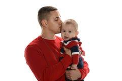 Junger hispanischer Vater und Sohn stockfotos