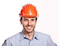 Junger Ingenieur denken das Positiv, das auf Weiß getrennt wird. Stockfotos