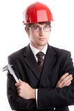 Junger Ingenieur mit einem Noniusschieber Stockbild