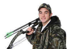 Junger Jäger mit Bogen Stockfotos