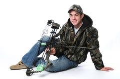 Junger Jäger mit Bogen Lizenzfreies Stockfoto