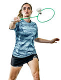 Junger Jugendlichmädchenfrau Badmintonspieler lokalisiert Stockfotos