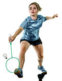 Junger Jugendlichmädchenfrau Badmintonspieler lokalisiert Lizenzfreies Stockfoto