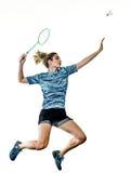 Junger Jugendlichmädchenfrau Badmintonspieler lokalisiert Lizenzfreies Stockbild