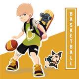 Junger Junge, der Basketball spielt Erstaunliches Kind Lizenzfreie Stockfotografie