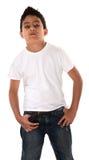 Junger Junge, der Fluglage zeigt Stockfoto