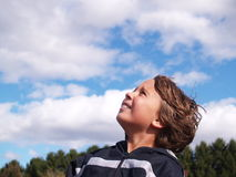Junger Junge, der gen Himmel schaut Stockfoto
