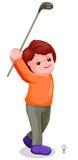 Junger Junge, der Golf spielt stock abbildung