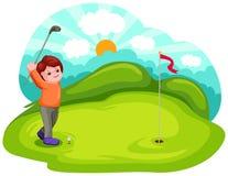 Junger Junge, der Golf spielt Lizenzfreies Stockbild