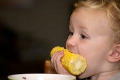 Junger Junge, der Maiskörner isst Stockbild