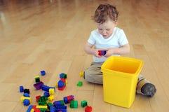 Junger Junge, der mit farbigen Blöcken spielt Stockfotos