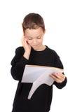 Junger Junge mit Heimarbeit Stockfoto