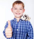 Junger Junge mit Meerschweinchen Stockfoto