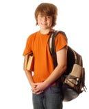 Junger Junge mit Rucksack Stockfotos