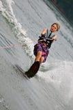 Junger Jungen-Slalom-Skifahrer Stockbilder