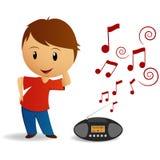 Junger Jungentanz der Karikatur mit Radioschreiber stock abbildung