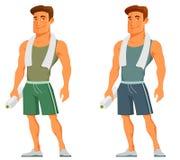 Junger Karikaturkerl in der Sportkleidung Stockbilder