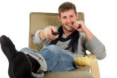 Junger kaukasischer Mann, Entspannungzeit Stockfotos
