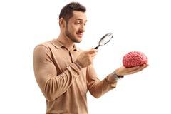 Junger Kerl, der ein Gehirnmodell mit einer Lupe überprüft Stockfotos