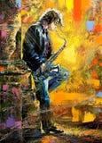 Junger Kerl, der ein Saxophon spielt lizenzfreie abbildung