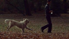 Junger Kerl, der mit dem Hund spielt