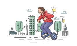 Junger Kerl im roten Kapuzenpullireiten-hoverboard auf Ökostadthintergrund Flache Linie Vektorillustration Lokalisiert auf Weiß lizenzfreie abbildung