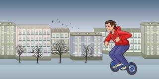 Junger Kerl im roten Kapuzenpullireiten-hoverboard auf Herbststadthintergrund Flache Linie Vektorillustration Lokalisiert auf Wei stock abbildung
