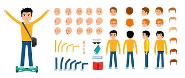 Junger Kerlcharakter-Schaffungssatz Flache Illustration des Vektors Lizenzfreie Stockbilder