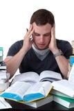 Junger Kursteilnehmer überwältigt mit dem Studieren Stockfoto