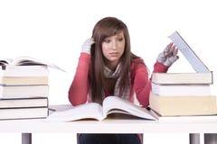 Junger Kursteilnehmer, der für Prüfungen studiert Lizenzfreie Stockfotos