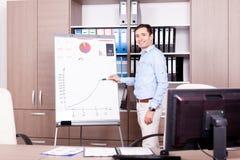 Junger lächelnder Geschäftsmann nahe bei einer Flip-Chart lizenzfreies stockbild