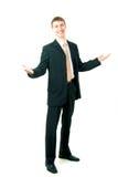 Junger lächelnder Geschäftsmanngruß Stockbild