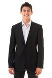 Junger lächelnder Geschäftspersonenmann lokalisiert auf weißem Hintergrund lizenzfreie stockbilder