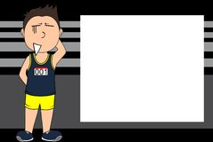 Junger Läuferkarikaturausdruck-Bilderrahmenhintergrund Stockfotos